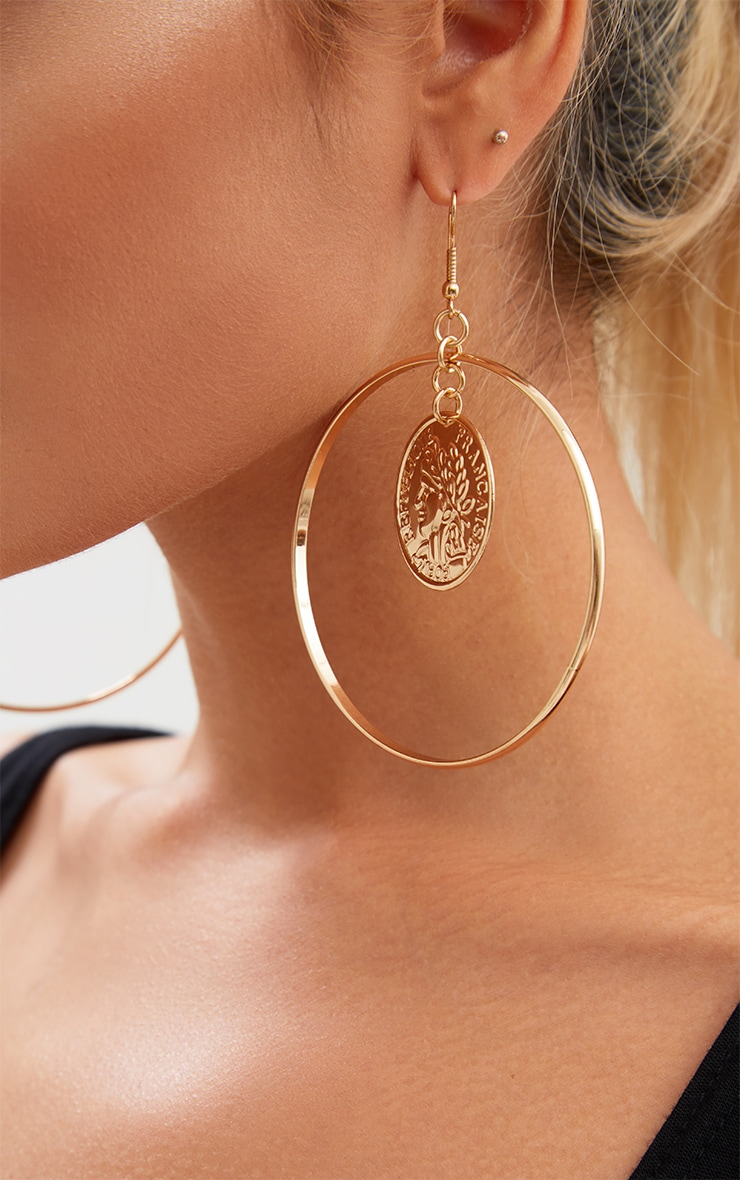 Gold Oversized Coin Middle Hoop Earrings 4