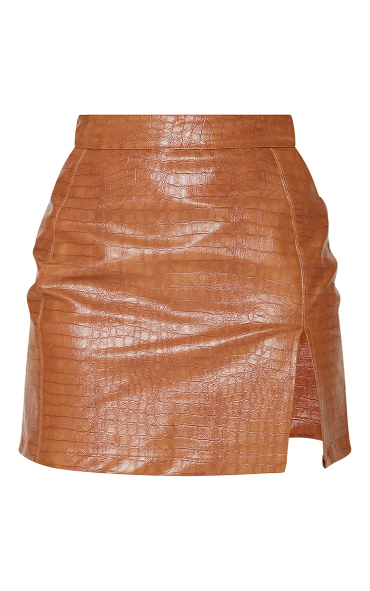 Tan Croc Vinyl Seam Detail Mini Skirt 6