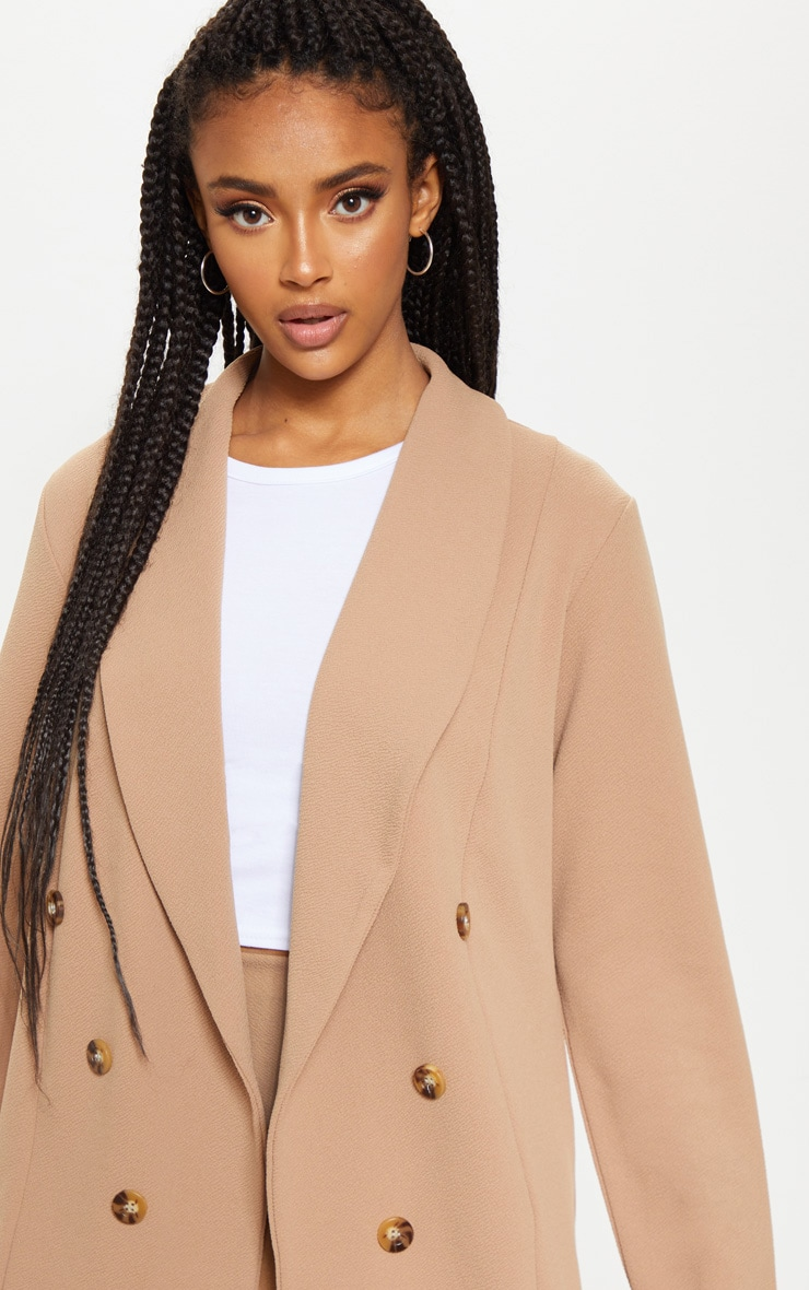 Camel Oversized Button Detail Blazer 5