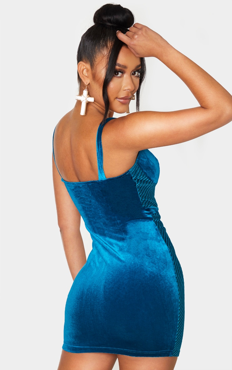Teal Velvet Sleeveless Ribbed Binding Detail Bodycon Dress 2