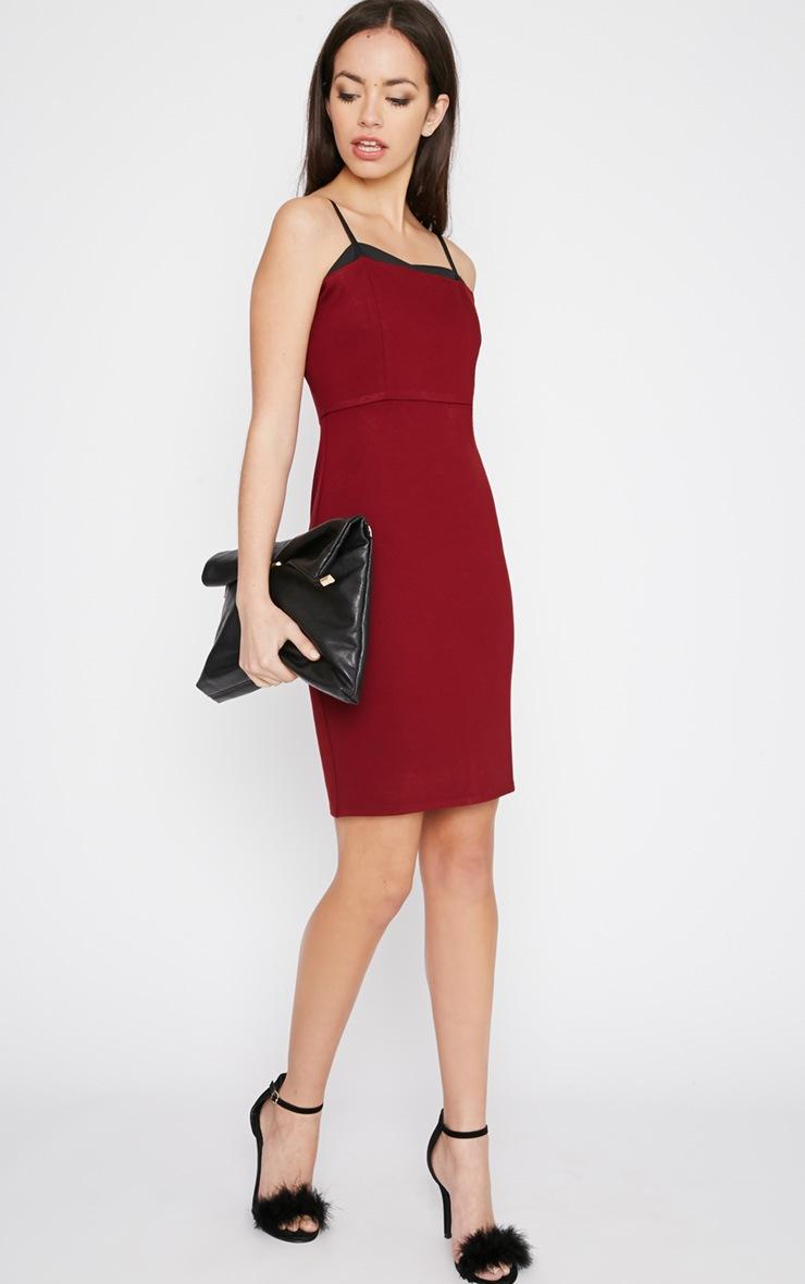 Sasha Burgundy Strappy Bodycon Dress 3