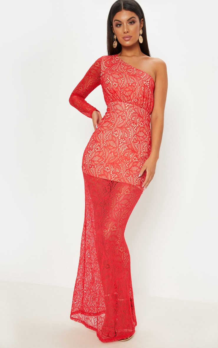 Red Lace One Shoulder Fishtail Maxi Dress