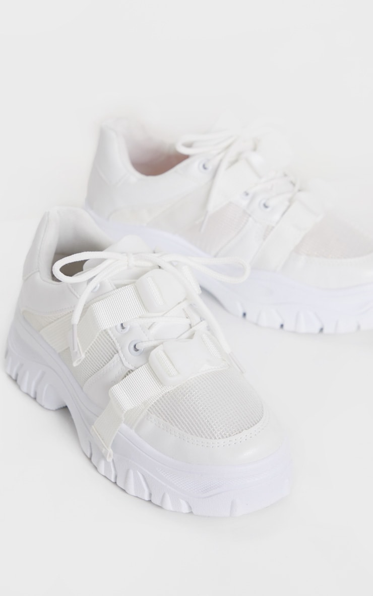 White Buckle Chunky Flatform Trainer 3