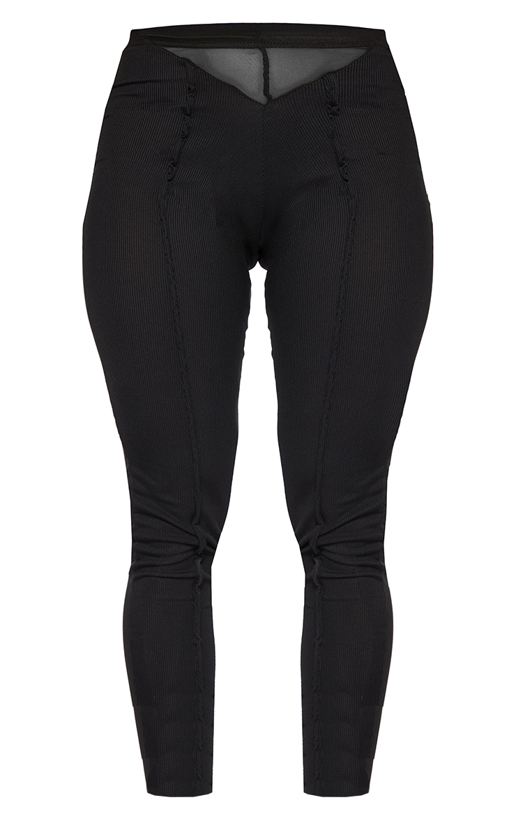 Shape Black Rib Mesh V Front Seam Detail Leggings 5