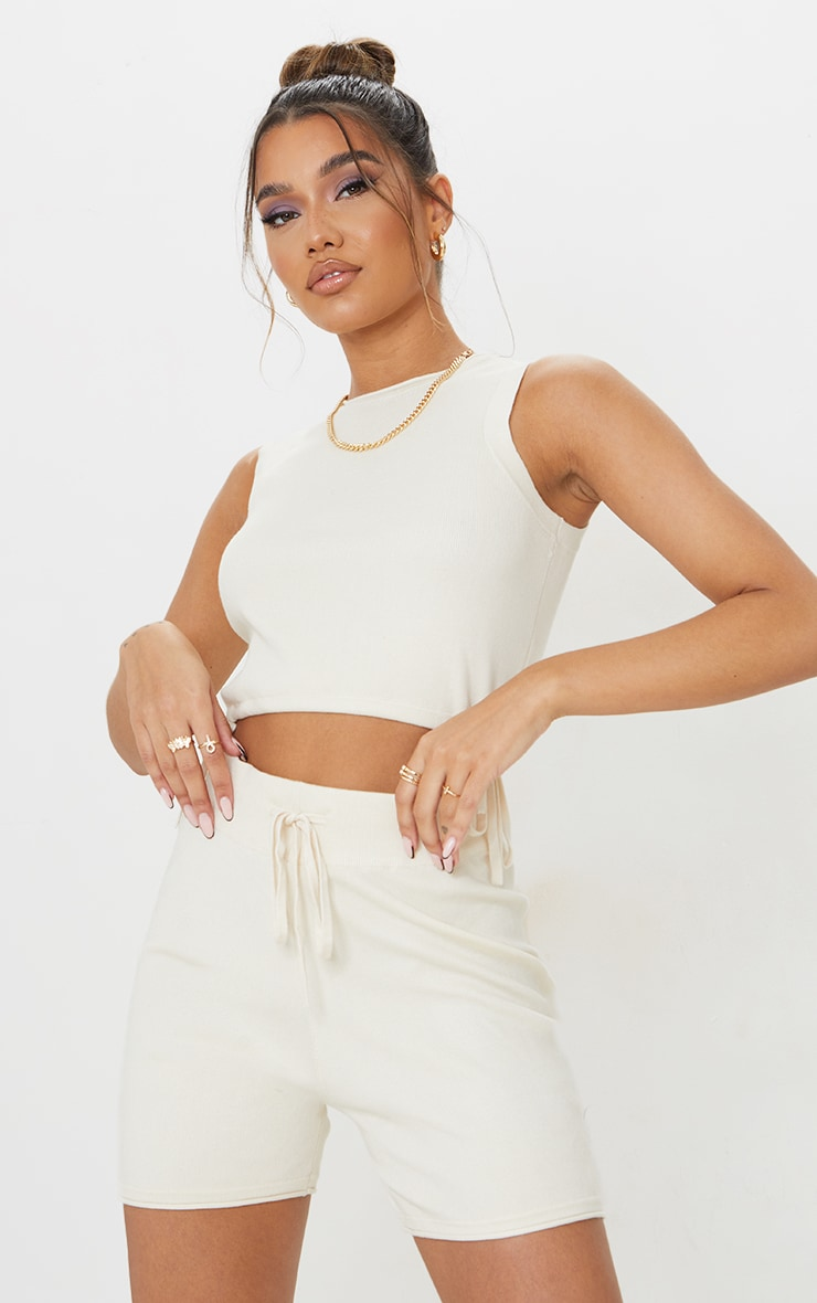 Cream Knitted Sleeveless Drawcord Top 1