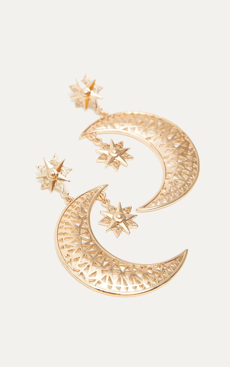 Gold Moon Star Drop Earrings 2
