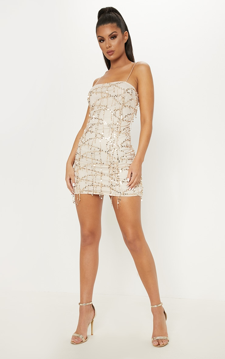 Gold Strappy Tassle Sequin Straight Neck Bodycon Dress 4