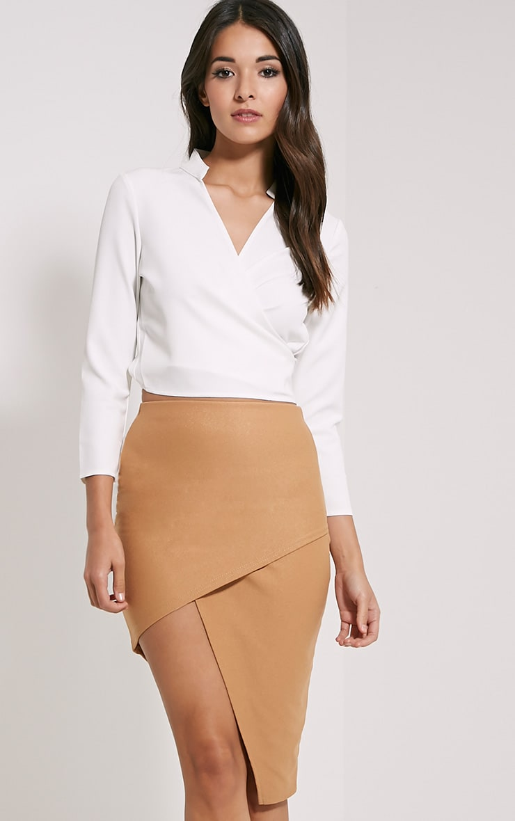 Libby Camel Asymmetric Mini Skirt 1