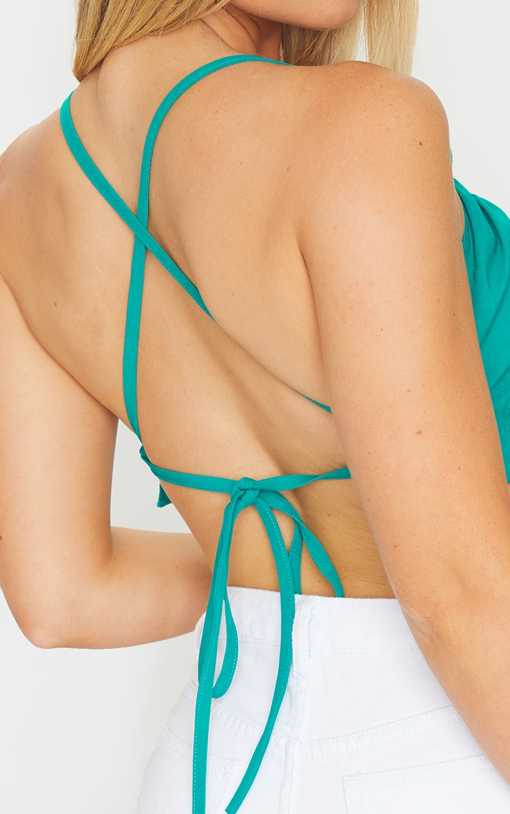 Green Woven Ruched Backless Halterneck Crop Top 4