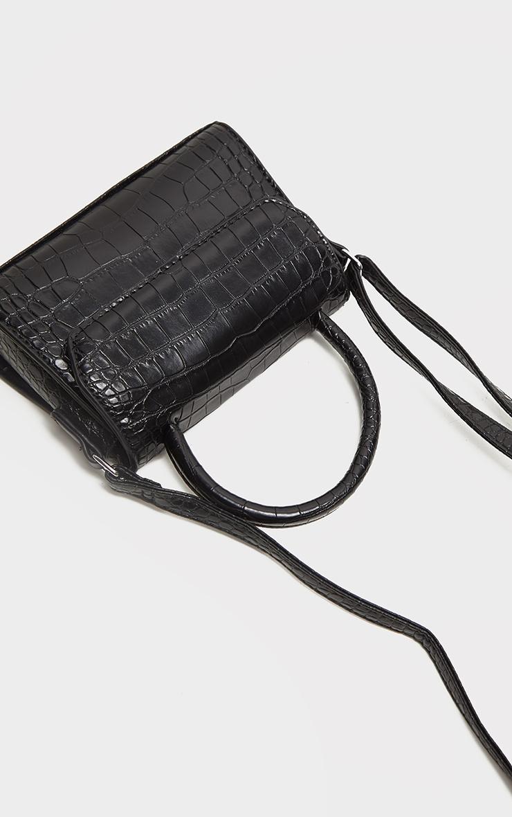 Black Croc PU Cross Body Bag 4