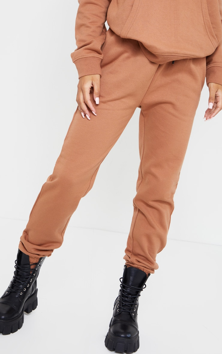 Tan High Waist Wax Toggle Joggers 2