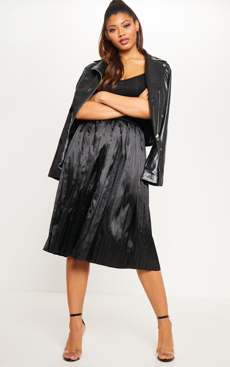 Tall Black Satin Pleated Midi Skirt