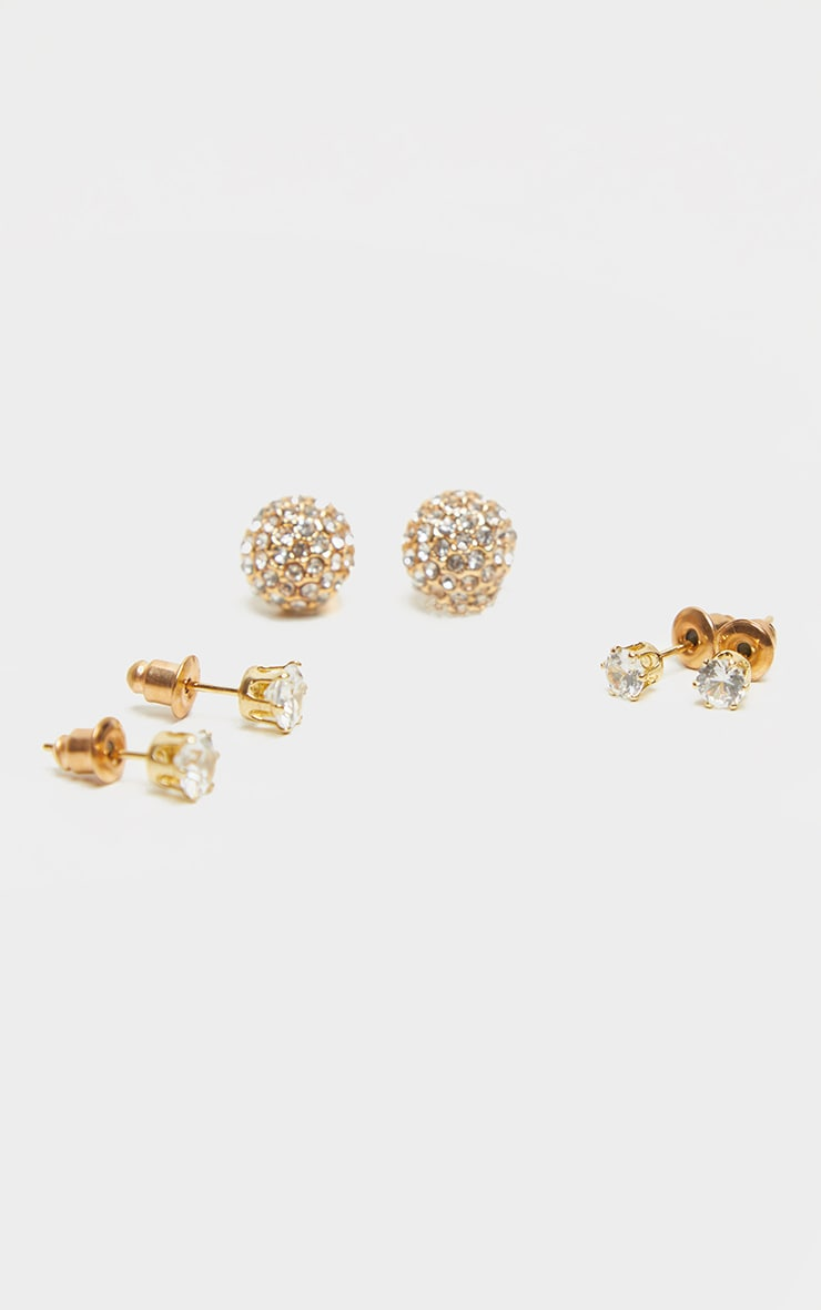 Gold Diamante Assorted Three Pack Earrings 2