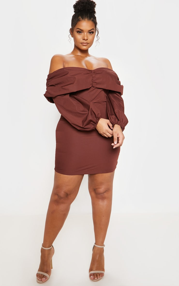 Chocolate Puff Sleeve Ruched Bardot Bodycon Dress 5