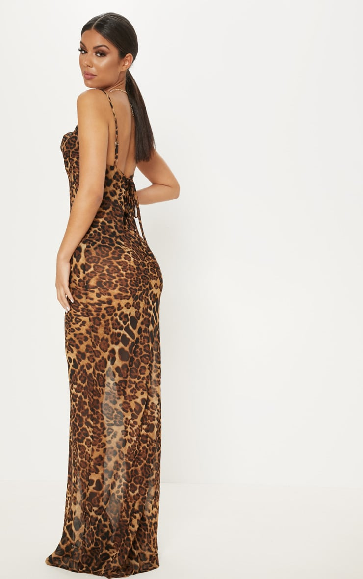 Brown Leopard Print Cowl Neck Floaty Maxi Dress  2