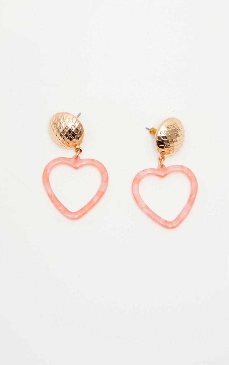 Pink Heart Resin Stud Earrings 2