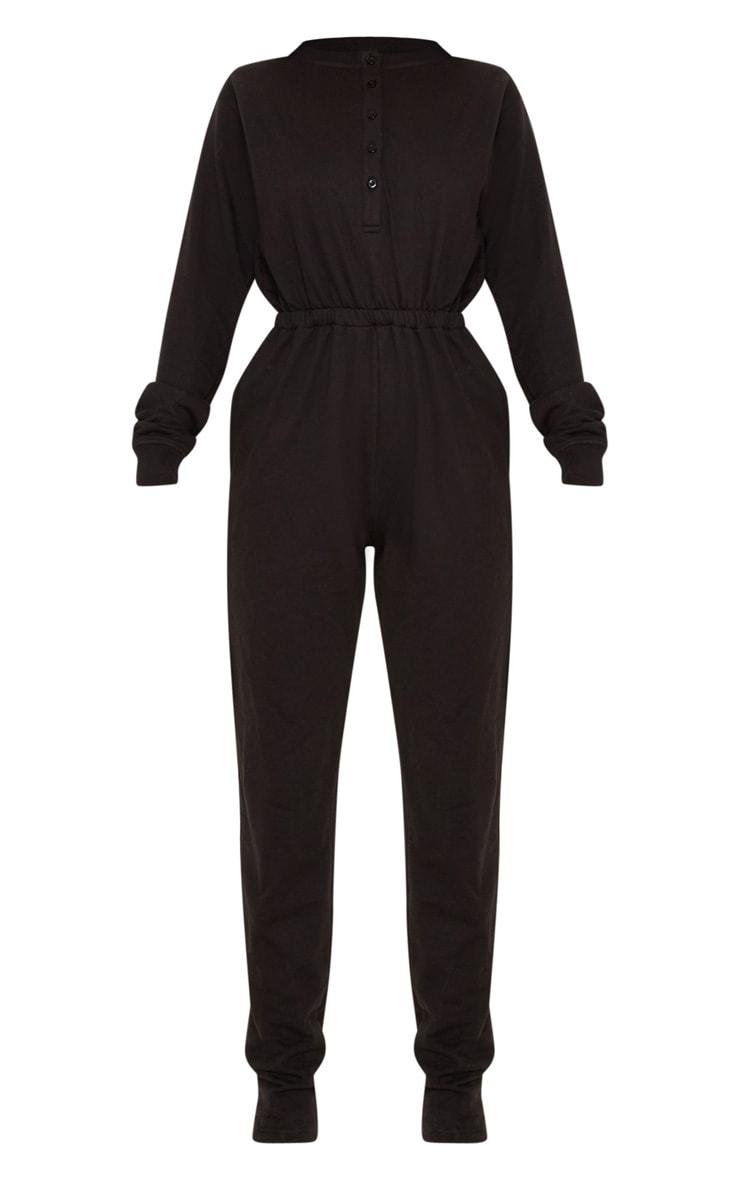 Black Button Up Loop Back Jumpsuit  3