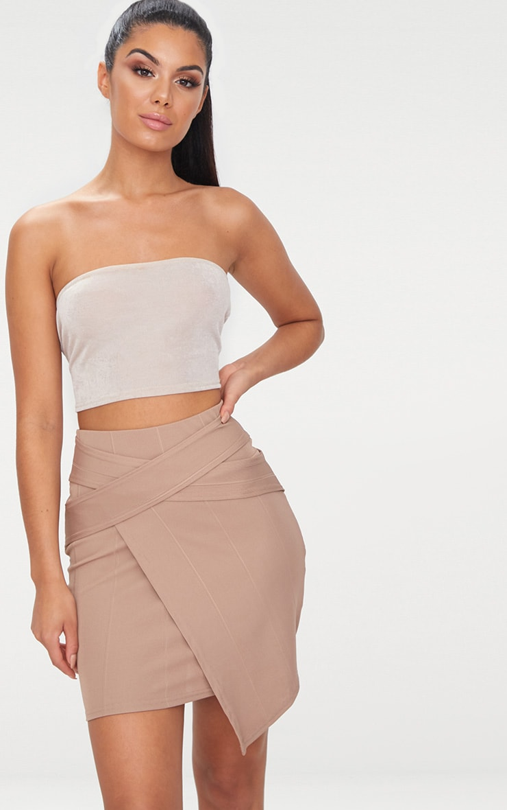 Taupe Bandage Strap Detail Mini Skirt 1
