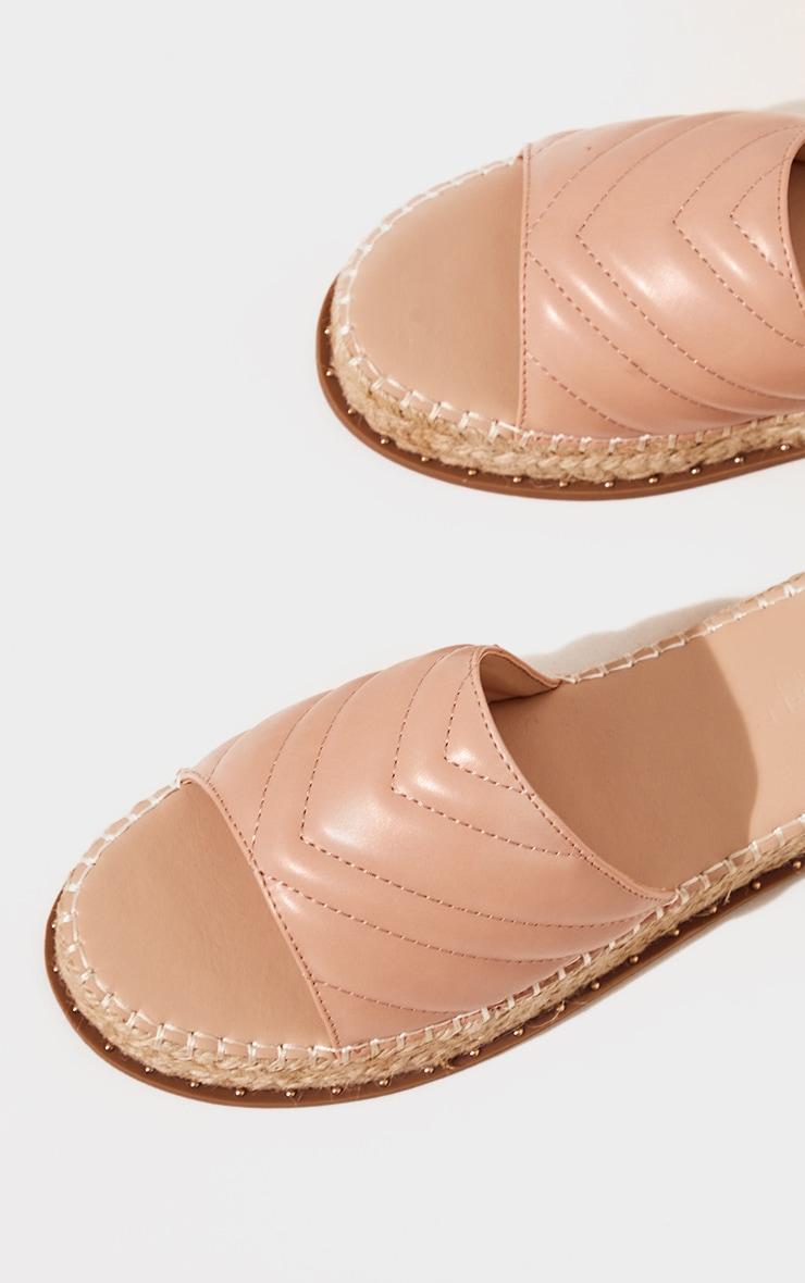 Nude Quilted Mule Flatform Espadrille Sandals 4