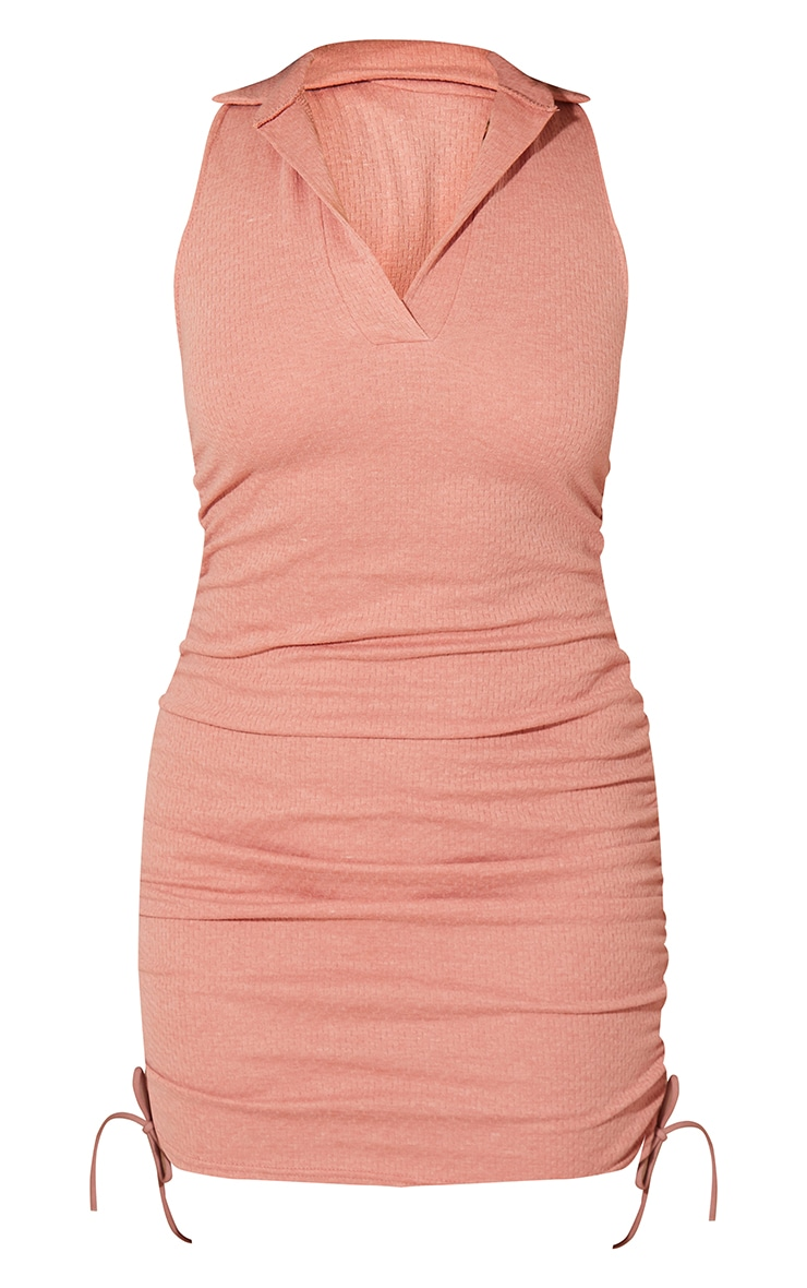 Clay Brushed Broderie Polo Collar Ruched Bodycon Dress 5