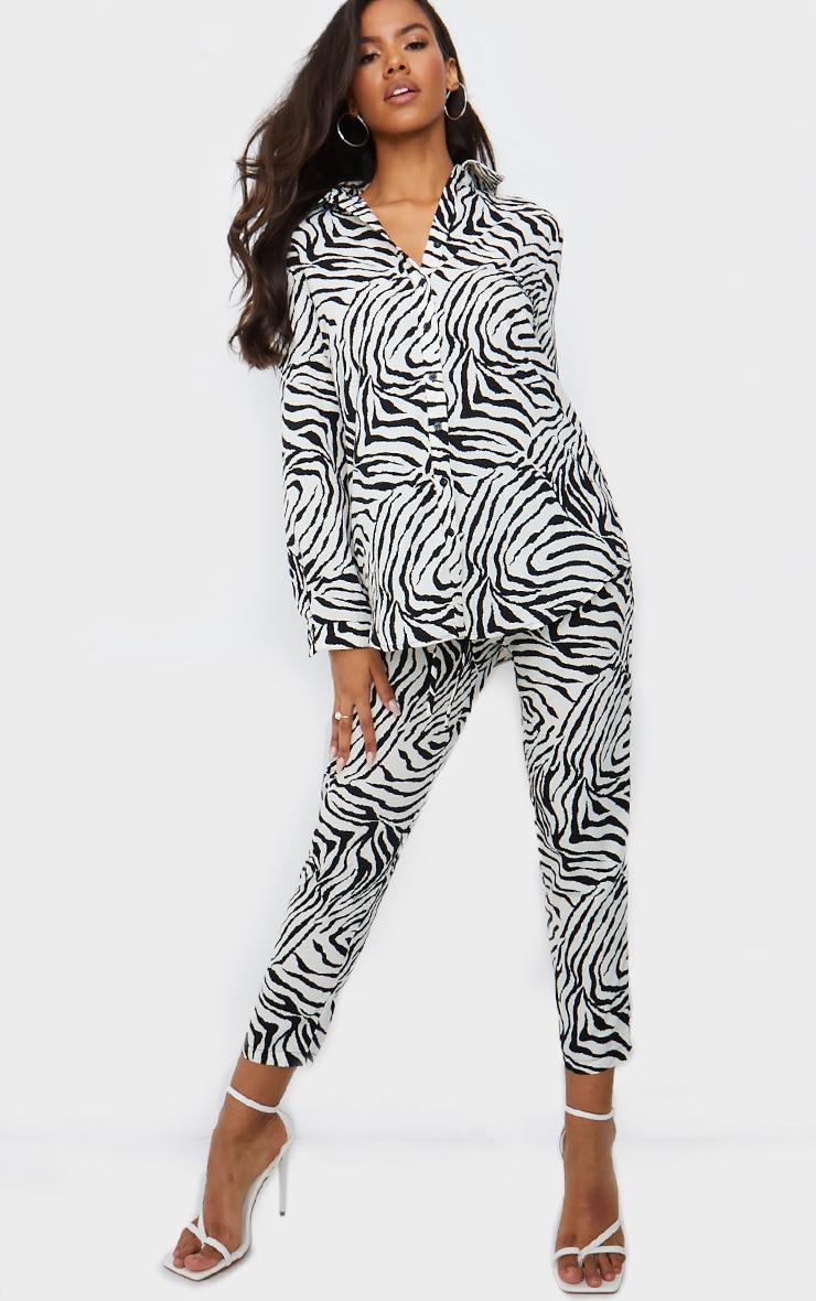 Black Zebra Print Cigarette Trousers 1