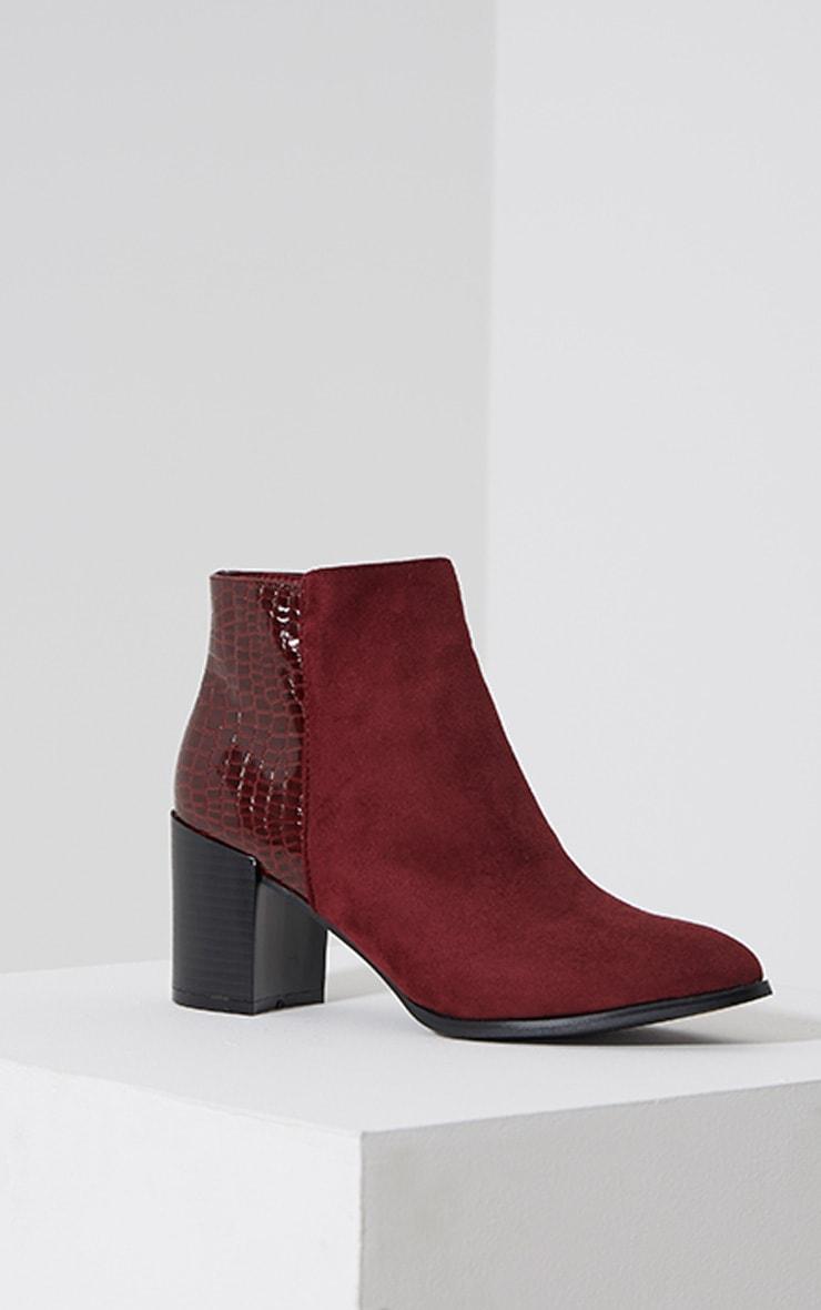 Kimi Oxblood Croc Patent Heel Suede Boots 3