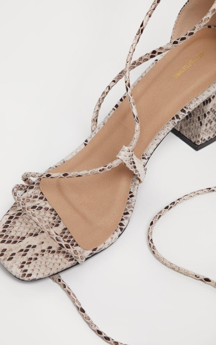 Snake Block Heel Sandal 4