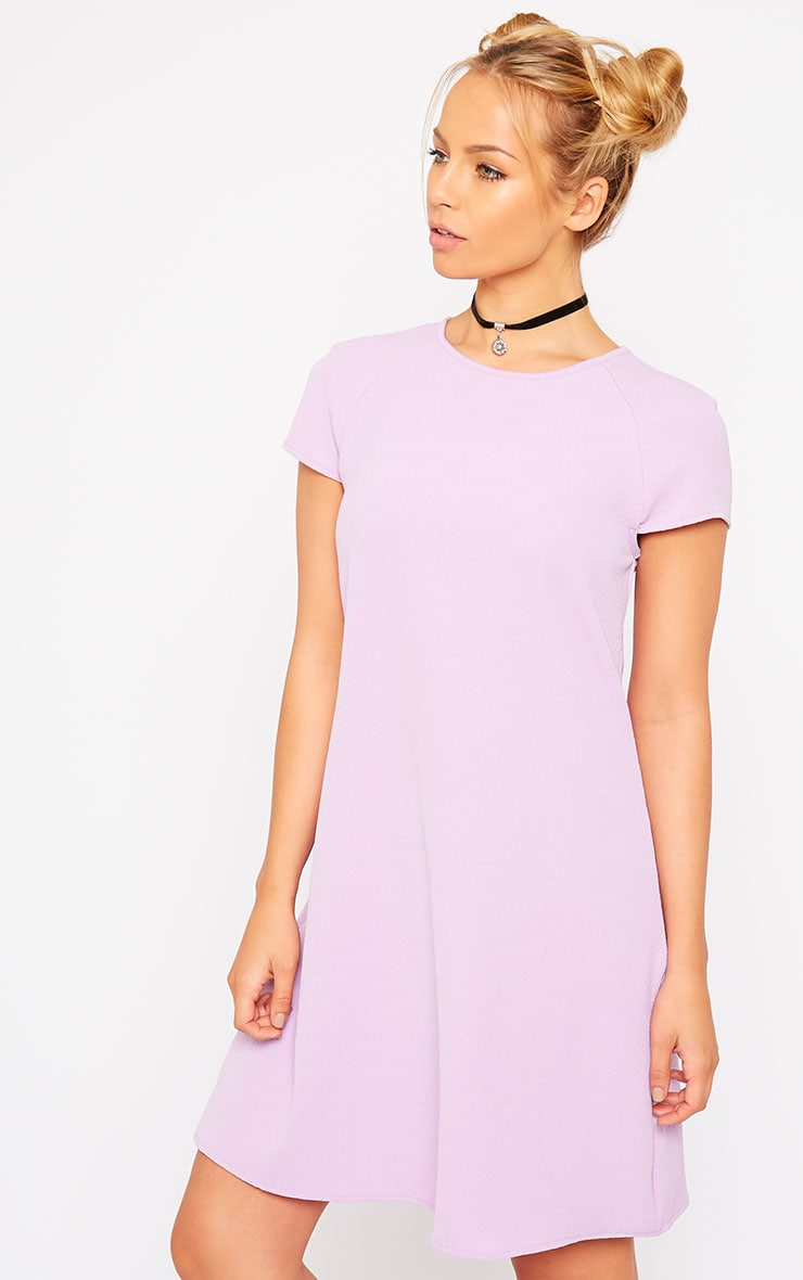 Sabra Lilac Waffle Loose Fit Shift Dress 4