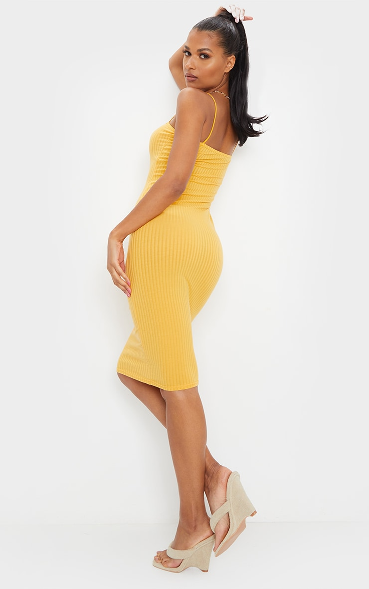 Mustard Ribbed Strappy Midi Dress 2