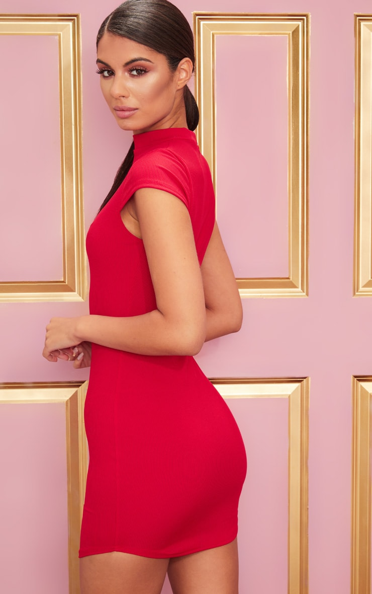 Red High Neck Ribbed Bodycon Dress 2