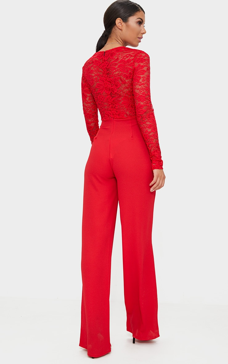 Red Lace Long Sleeve Plunge Jumpsuit 2
