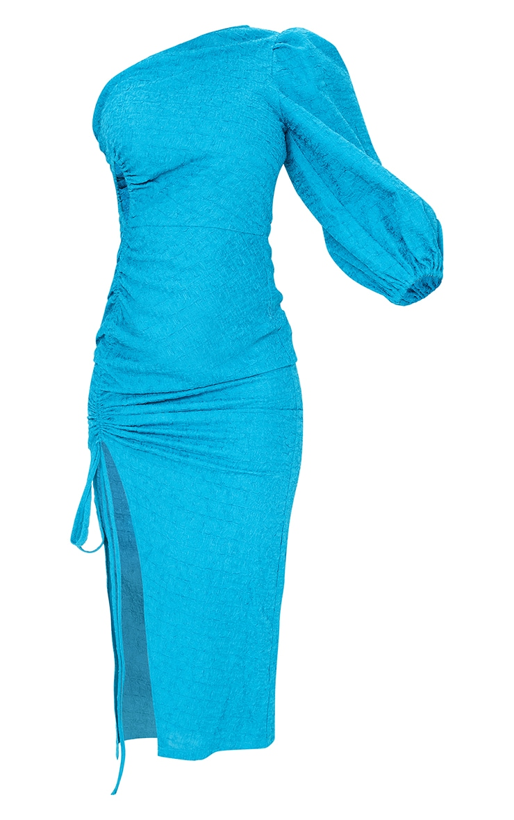 Teal Crinkle Ruched One Shoulder Cut Out Midi Dress 5