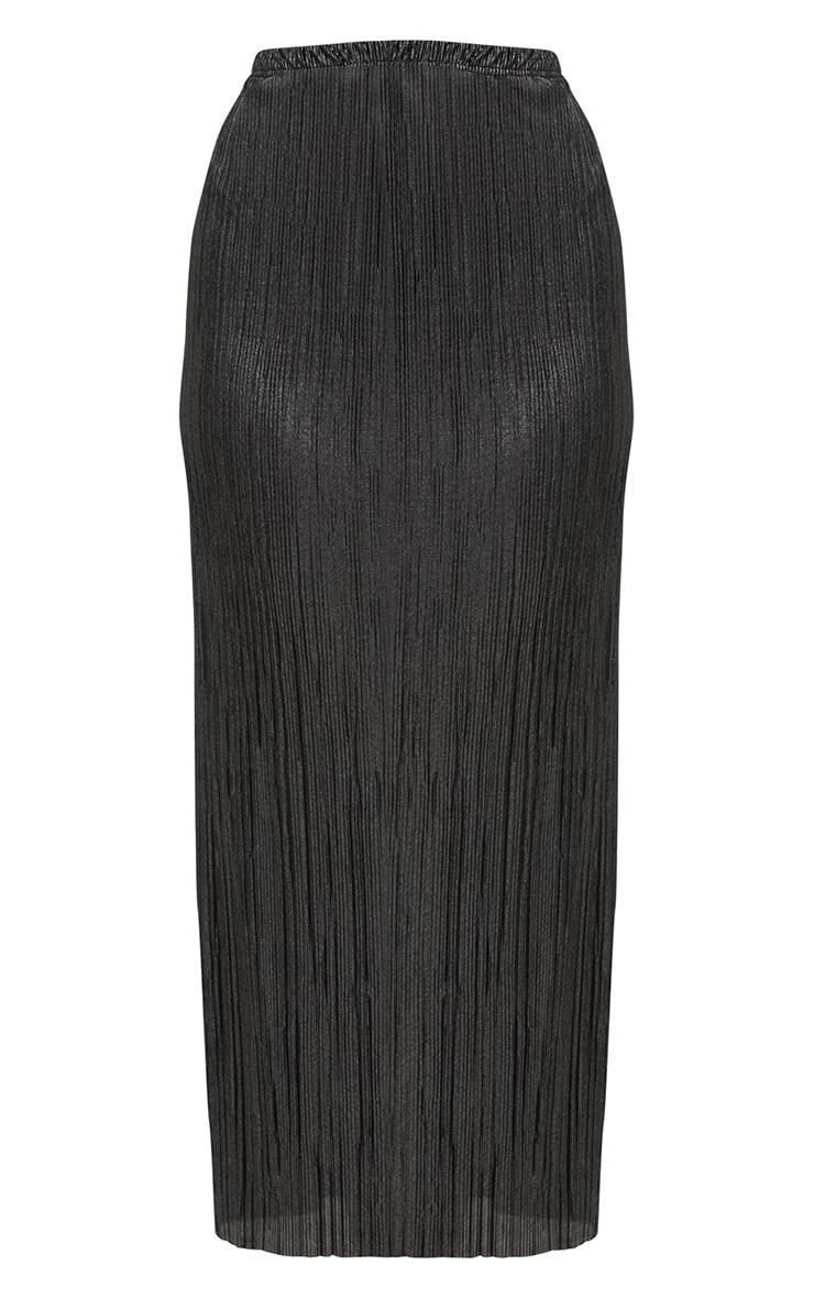 Plus Black Pleated Maxi Skirt 3