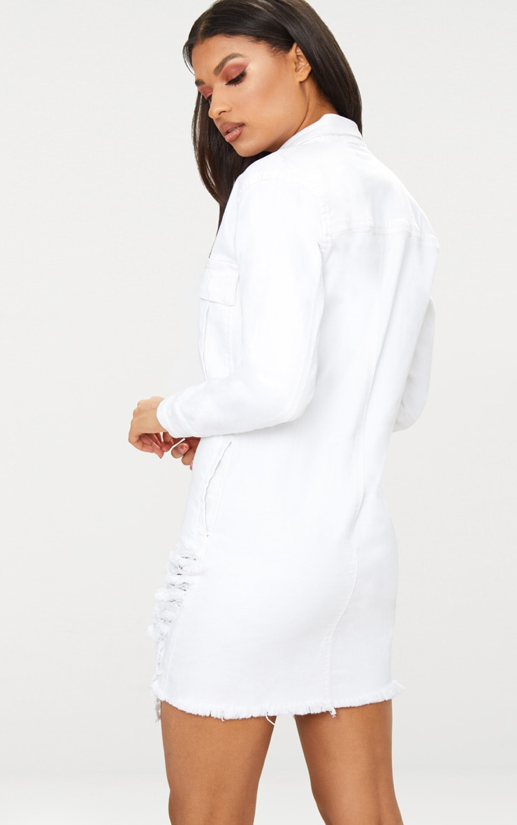 White Super Distressed Denim Shirt Dress 2