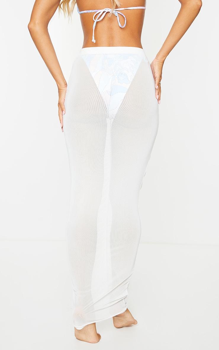 White Ruched Mesh Midi Beach Skirt 3