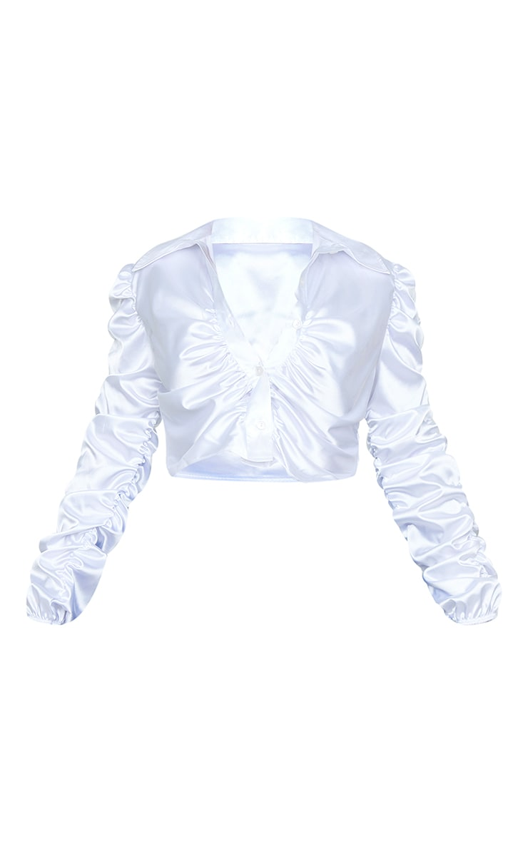 White Satin Ruched Cropped Shirt 5