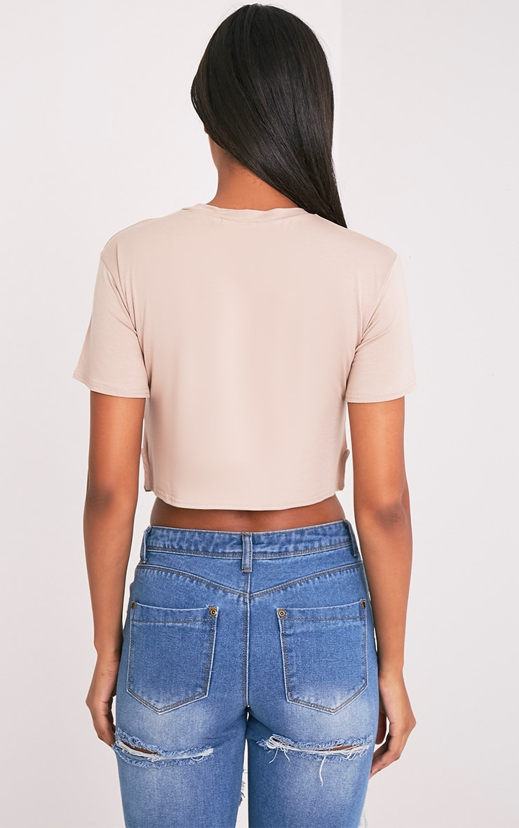 Doll Face Slogan Nude Cropped T Shirt 2