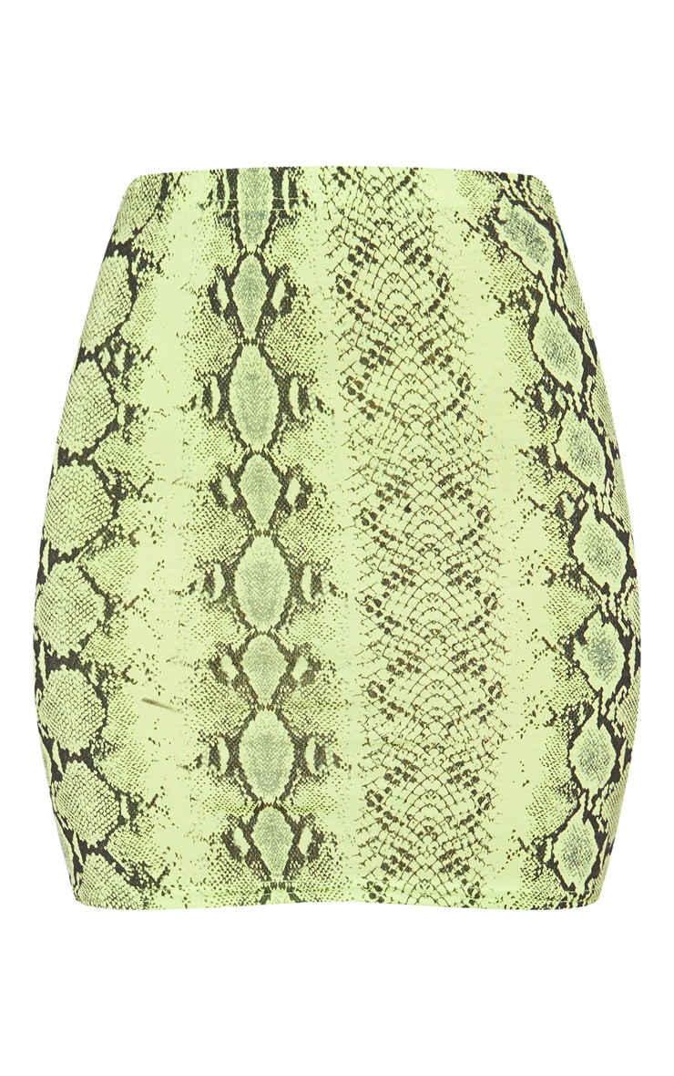 Neon Green Snake Print Mini Skirt 3