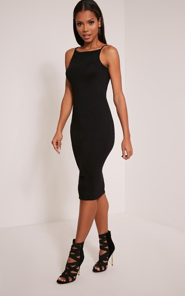 Basic robe midi à col nageur noire 4