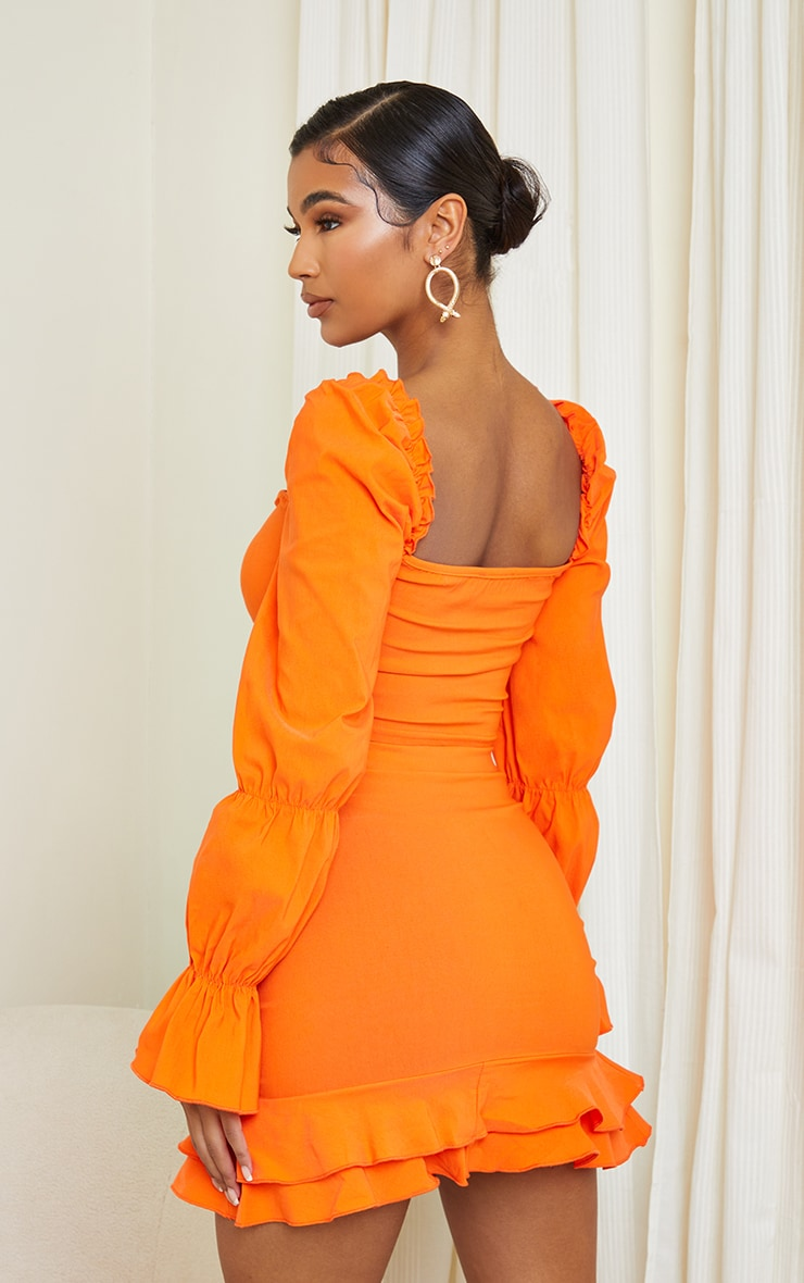 Orange Woven Stretch Frill Ruched Front Long Sleeve Crop Top 2