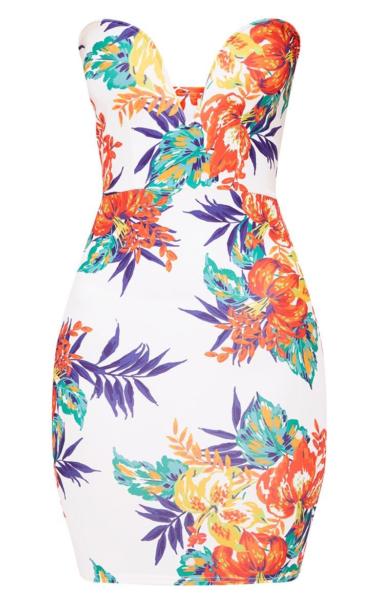 White Tropical Print Bandeau Bodycon Dress 3