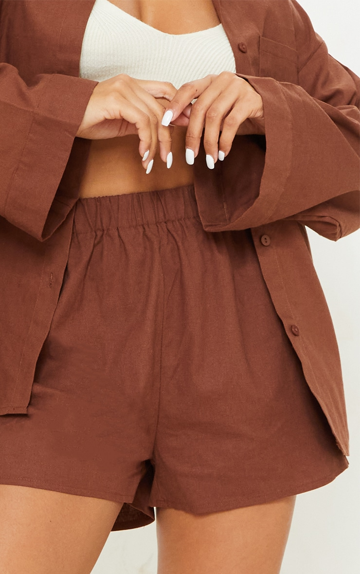 Brown Woven Elastic Waist Floaty Shorts 5