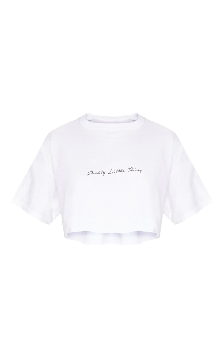 PRETTYLITTLETHING White Slogan Crop T shirt 4