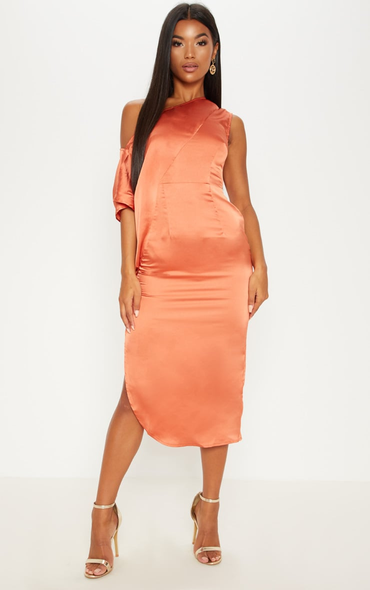 Rust Satin One Shoulder Cape Sleeve Midi Dress 1
