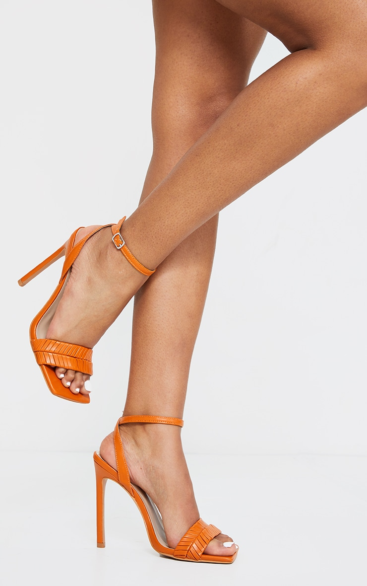 Rust Extreme Square Toe Double Quilted Strap Heeled Sandals 3