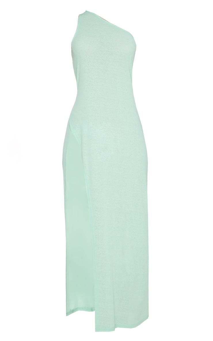 Green One Shoulder Split Maxi Beach Dress 5