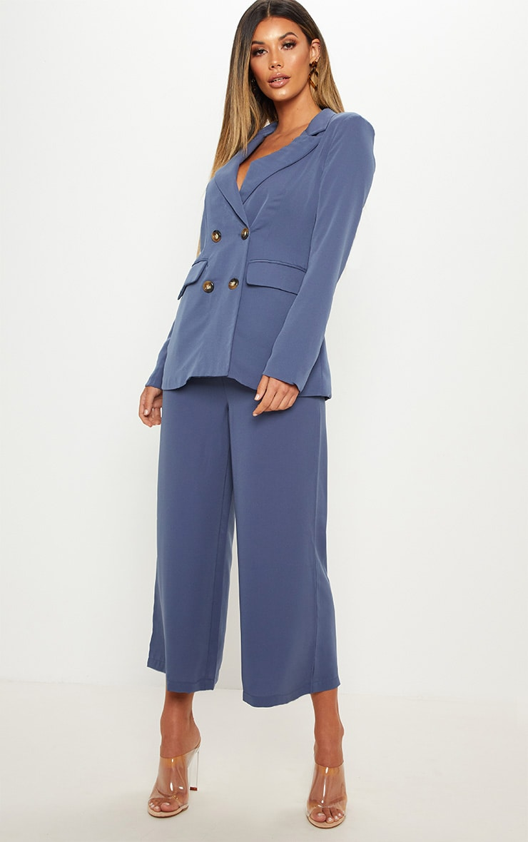 Blue Oversized Button Detail Woven Blazer 4