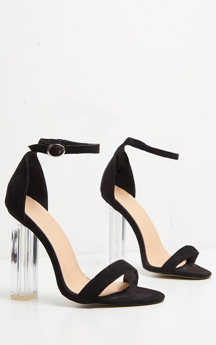 Black Strap Clear Heels 3