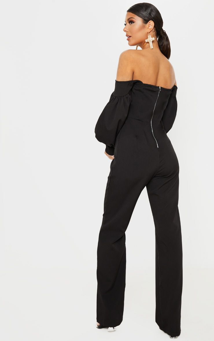 Black Bardot Balloon Sleeve Corset Jumpsuit 2