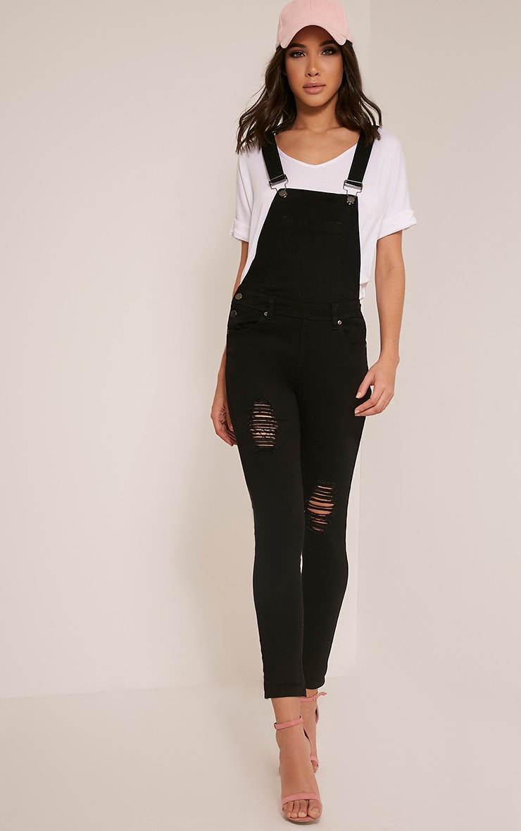 Ann Black Denim Dungarees 1